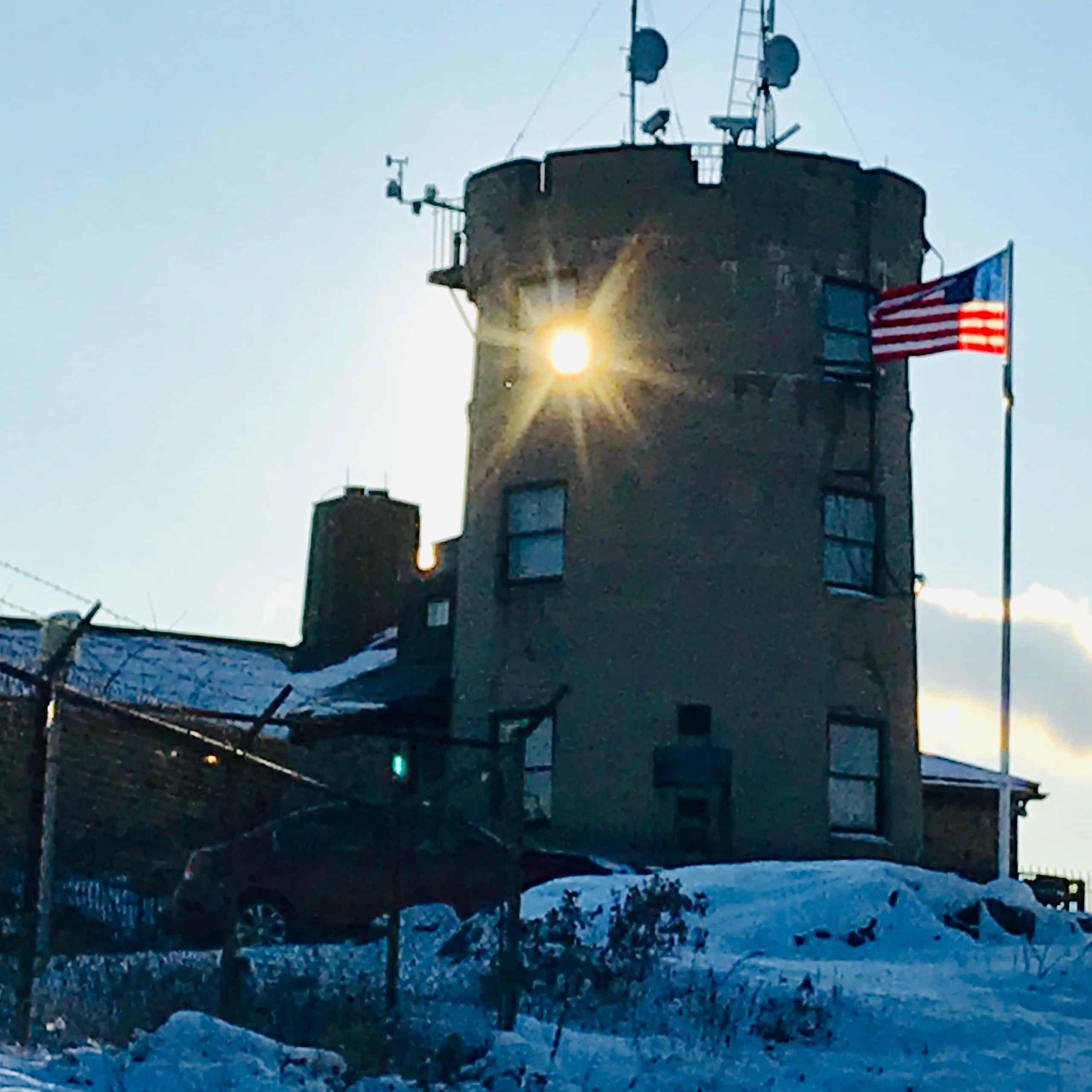 blue hill meteorological observatory at sunset